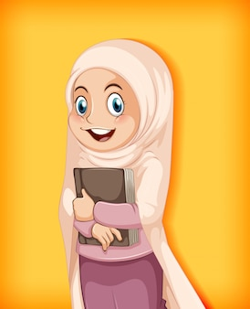 Menina muçulmana segurando livro