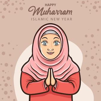 Menina muçulmana sorridente cumprimentando feliz ano novo islâmico