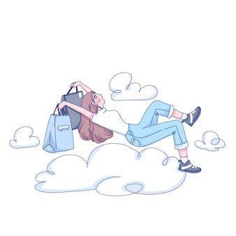 Menina muito feliz com sua ilustração de desenho animado