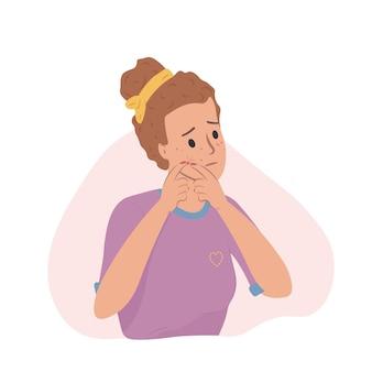 Menina mulher apertando espinhas adolescentes problemas de pele acne espinhas ilustração vetorial cravos