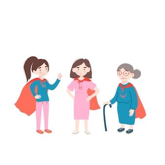 Menina mulher e mulher velha usam traje de super-heróis.