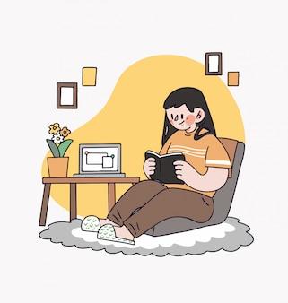Menina mulher sentada na cadeira aprendendo a ler um livro em casa ilustração