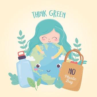 Menina mundo garrafa e sacola de compras natureza ambiente ecologia