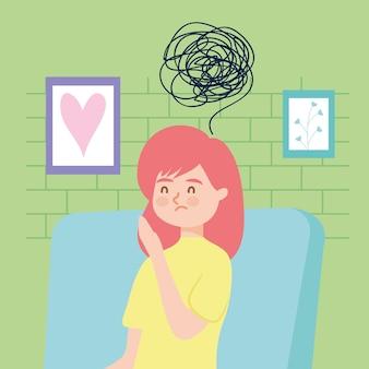 Menina na cadeira com depressão de terapia virtual