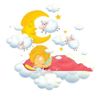 Menina na cama, sonhando e contando ovelhas