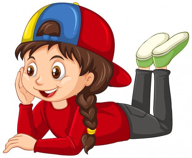 Menina na camisa vermelha no branco