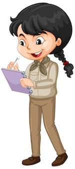 Menina na escrita uniforme marrom no fundo branco