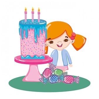 Menina na festa com bolo doce e doces