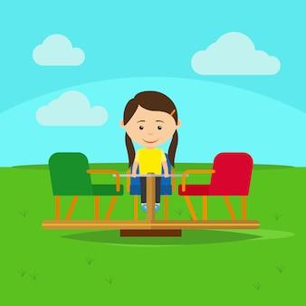Menina na ilustração do vetor dos desenhos animados do campo de jogos