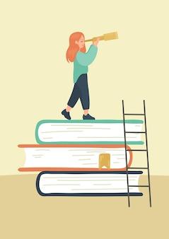 Menina na pilha de livros olha para o telescópio conceito de pesquisa de leitura científica literária educação estudar aprendizagem