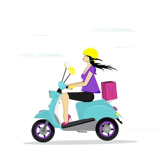 Menina na scooter - ilustração vetorial de morena no capacete na scooter azul.