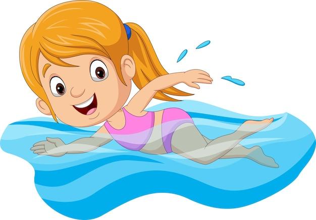Menina nadadora de desenho animado na piscina