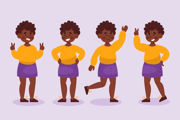 Menina negra desenhada à mão plana em coleção de poses diferentes