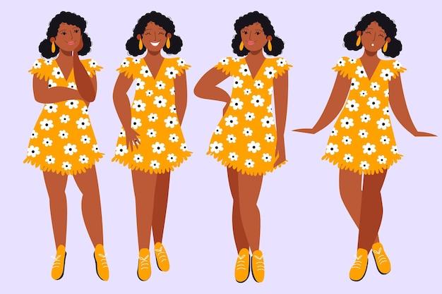 Menina negra desenhada à mão plana em diferentes poses