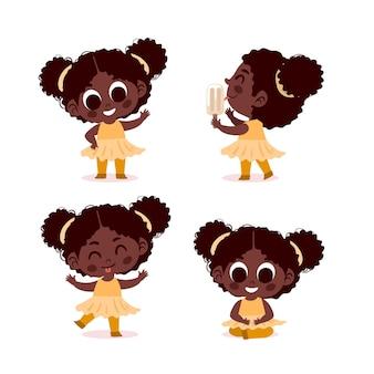 Menina negra em coleção de poses diferentes Vetor grátis