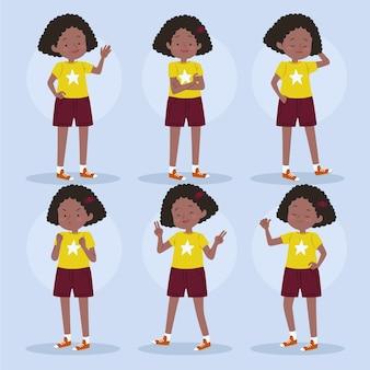 Menina negra em coleção de poses diferentes