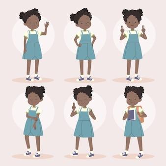 Menina negra em diferentes poses desenhadas à mão ilustração