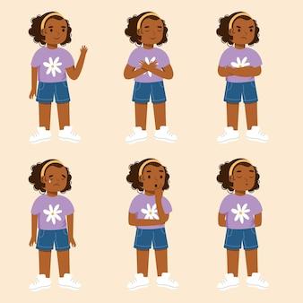 Menina negra em diferentes poses