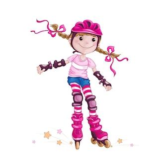 Menina no capacete e patins de acessórios de proteção.