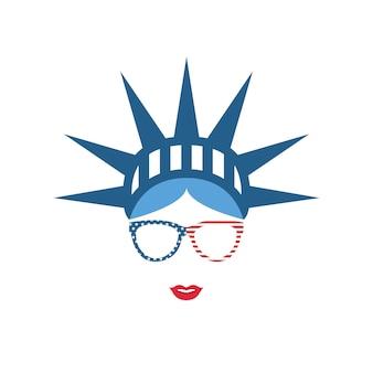 Menina no chapéu simbólico estátua da liberdade.