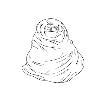 Menina no cobertor aconchegante quente. contorne a ilustração de coloração