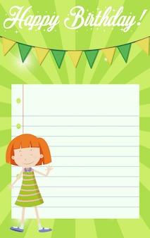 Menina no fundo de nota de feliz aniversário