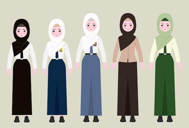 Menina no hijab e no uniforme escolar. menina com ilustração do hijab.