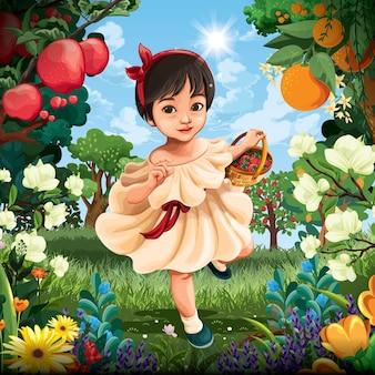 Menina no jardim de frutas