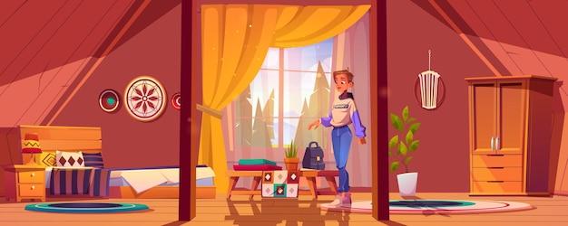 Menina no quarto em estilo boho no sótão