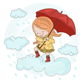 Menina nuvem estação do guarda-chuva da queda do outono