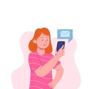 Menina observando o telefone, verificando a mensagem em design plano