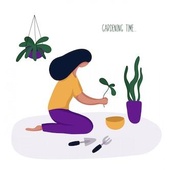 Menina ou mulher e seu hobby - jardinagem