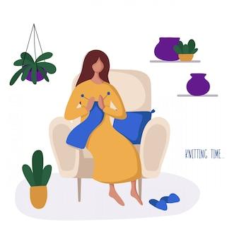 Menina ou mulher e seu hobby - tricô