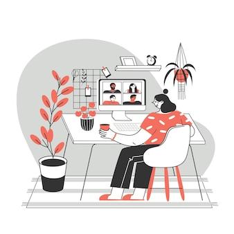 Menina ou mulher usando um computador para reunião virtual coletiva, videoconferência em grupo.