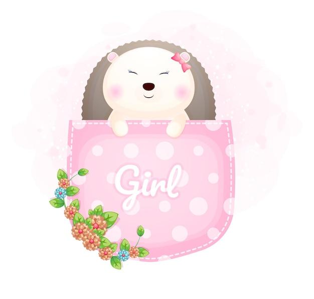 Menina ouriço bebê fofo dentro do bolso