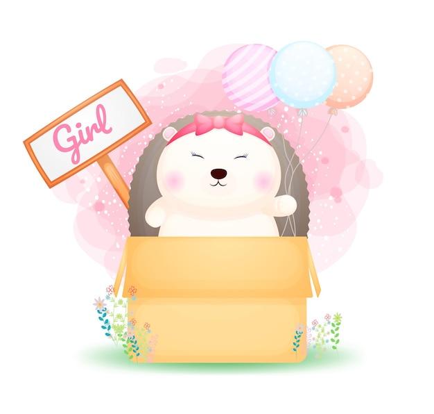 Menina ouriço doodle fofinho segurando balões no personagem de desenho animado da caixa