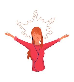 Menina ouvindo música. dança de mão do jovem personagem de desenho animado com fone de ouvido. pessoas alegres usando fone de ouvido. usando o reprodutor de áudio para curtir o som