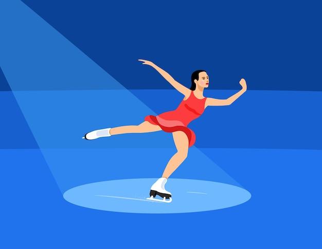 Menina patinadora dançando de patins em um feixe de luz. ilustração vetorial