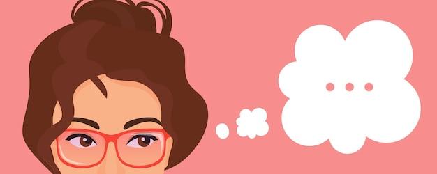 Menina pensando sobre o problema com pontos no retrato de expressão de bolha de pensamento com os olhos