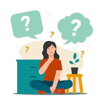 Menina pensante com balões de fala e ponto de interrogação