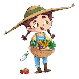 Menina pequena agricultor com legumes