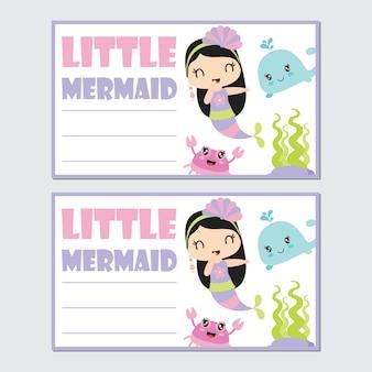 Menina pequena sereia com a amiga para cartão de aniversário
