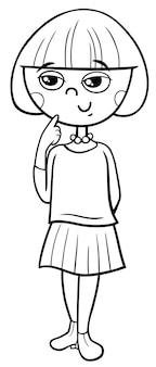 Menina, personagem de desenho animado, livro colouring