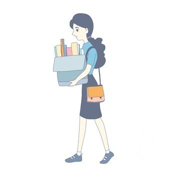 Menina, personagem, desenho, de, vetorial