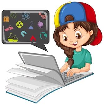 Menina pesquisando no laptop com ícones de educação
