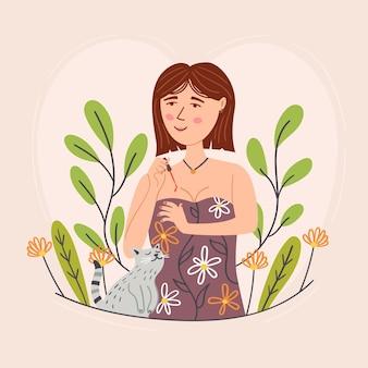 Menina pinta unhas gato gentil