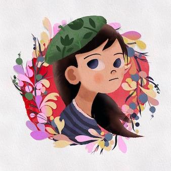 Menina pintada à mão em aquarela e flor. ilustração isolada