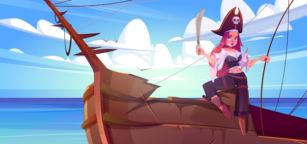 Menina pirata com espada no convés do navio capitã