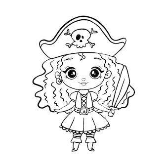 Menina pirata do estilo doodle isolada no branco. menina pirata para colorir