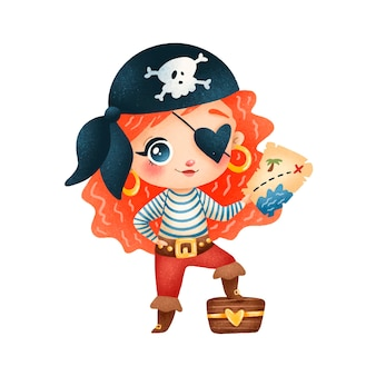 Menina pirata fofinho dos desenhos animados isolada no branco